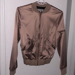 Authentic House of CB Rose-Gold Satin Bomber Dena